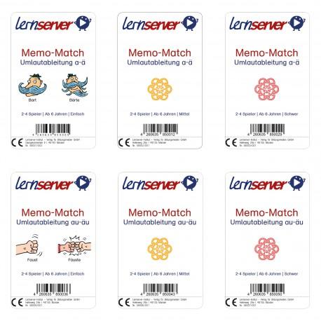 Lernserver-Spiel Set Memo-Match: Umlautableitung a-ä und au-äu: leicht, mittel und schwer